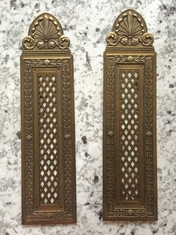 Vintage Brass Door Plate. French Vintage Brass. Pair of Door Plates. from CharismaGift on Etsy Studio & Vintage Brass Door Plate. French Vintage Brass. Pair of Door Plates ...