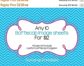 10 For 12 Dollars Bottlecap Images Sheets Bundle ~ Sale Price ~ Any 10 Digital Bottlecap Image Sheets ~ 1 Inch Circles ~ You Choose 1