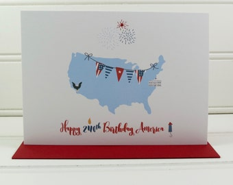 4th of July Card, Fourth of July Card, Cute Card, America Card, Patriotic Card, Custom Card, Independence Day, USA Card, Personalized Card