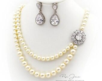 Wedding Necklace Swarovski Pearl Zirconia Necklace Wedding Jewelry Bridal necklace Wedding earrings Bridal Jewelry Bridal earrings Ju