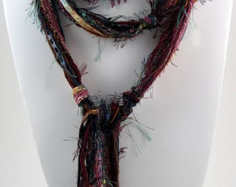 Burgundy Scarf, Multi Colored Scarf, Bohemian Scarf, Skinny Scarves, Skinny Scarf, Boho Accessories, Womens Scarves, Maroon Gold