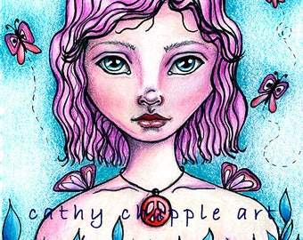 Peace girl - Giclee print, mixed media art, whimsical art, peace, mixed media girls, boho art, wall art, gift for friend, spirit