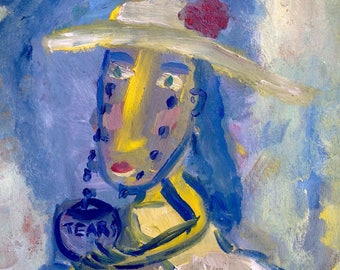 Original oil painting, oil on paper, naive painting, contemporary, portrait, funny art, funny portrait, tears, woman portrait