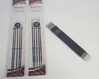 KnitPro Karbonz double pointed needles, dpns, 1-6mm, 15cm, set of 5