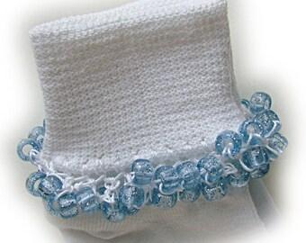 Kathy's Beaded Socks - Light Blue Sparkle Socks, school socks, pony bead socks, clear pony beads, light blue glitter pony beads