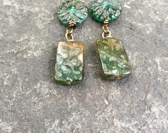 Green Urban Forest  Rectangle Slab Czech Glass Boho Dangle Earrings    Product id: FGRSD717