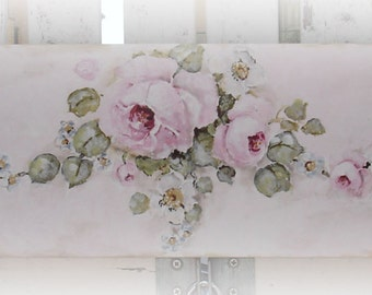 Original Shabby Style Rose Painting on Antiqued Timber