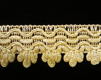"739.1 Metallic gimp ""Triple Icing"" bright gold 1-3/16"" (30mm), ornate metallic trim, bright gold gimp, bright gold trim, wide metallic gimp"
