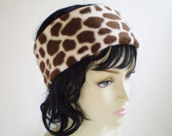 Fleece Giraffe Headband, Fleece Giraffe Ear Warmer, Fleece Giraffe Earwarmer