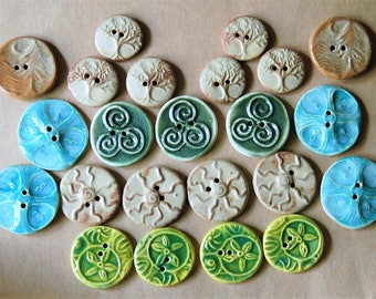 23 Handmade Ceramic Buttons - Large Assortment of Sale Ceramic Buttons - Focal Artisan Buttons for Crafts - Tree of Life Buttons and more