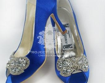 Blue Wedding Shoes, Something Blue, Crystal Wedding Shoes, Blue Bridal Shoes, low heel Wedding Shoes, High Heel Wedding shoes,  Caparina