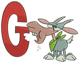 """Letter G Goat Embroidery Design 4""""x4"""""""