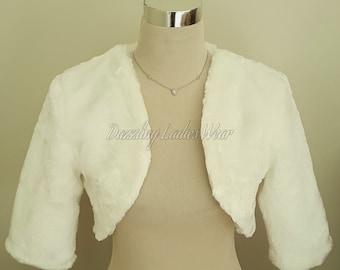 Ivory Faux Fur Bolero 3/4 Sleeves / Shrug / Jacket / Shawl / Wrap / Weddings Full Satin Lining - UK 4-26