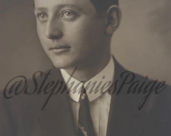 1925 | Real Photo Postcard | Portrait of a Man | black & white photograph
