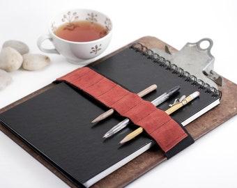Journal Bandolier Large / replace your pencil case / Burnt orange suede