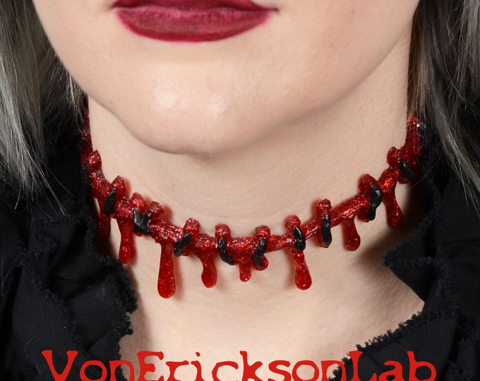 Dripping Blood Stitch Necklace Choker  -Creepy Cute Bright Red Glitter