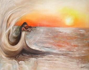 "Art original painting: ""the violinist""."
