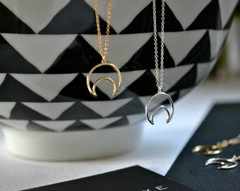 Small Gold or Silver Moon Necklace | Crescent Silhouette Charm Necklace | Moon Outline Necklace