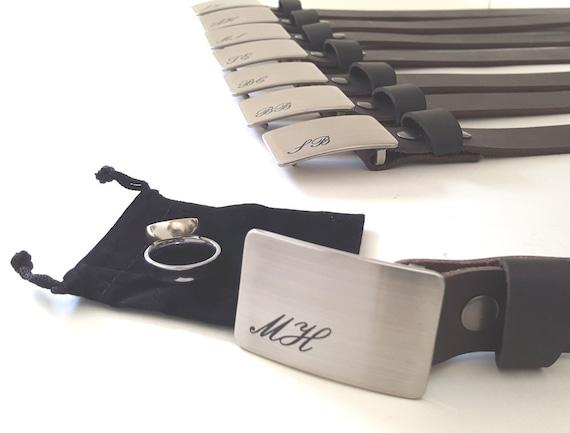 "Men's Monogrammed Belt Buckle ~ Wedding Accessories ~ Groomsmen Accessories ~ Brushed Stainless Steel ~ Belt Buckle Fits 1.25"" Leather Belt"