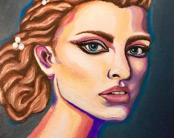 Colorful portrait, rainbow painting, rainbow portrait, meg hein, original colorful painting, colorful woman portrait, pink portrait, blueart
