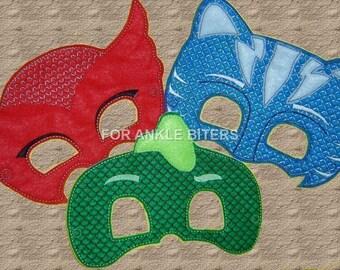 Adult Size Too! PJ Hero Masks, Red Owl, Blue Cat, Green Lizard, PJ Birthday Party, Birthday Gift Kids Masks
