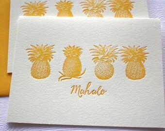Pineapples Letterpress Cards Hawaii Aloha Mahalo Honey Gold