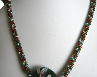 SALE  SALE    Sead Bead Kumihimo Necklace with Artist Designed Koi Goldfish Lampwork Bead