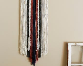 Handcrafted Yarn Wall Hanging \\ Navy, Coral, Cream, + Grey \\ Tapestry Wall Decor \\ Home Decor