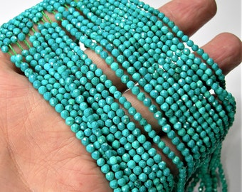 Howlite turquoise  - 3mm(2.7mm) micro faceted round beads - 143 beads - Full strand 16 inch - 40 cm  - AA Quality - PG168