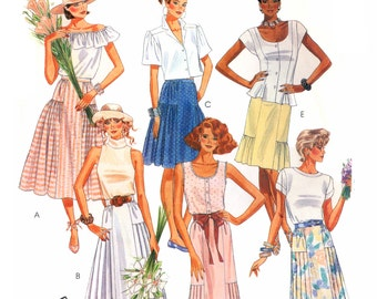 80s McCall's 3587 Skirts with Pleat or Gathered Side Variations in Two Lengths, Uncut, Factory Folded, Sewing Pattern Size 14-16