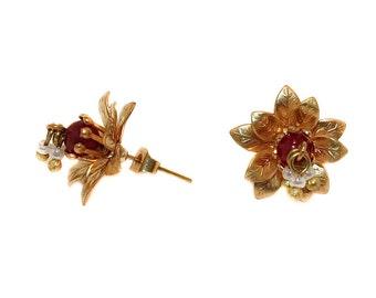 Carmen - matte golden brass flower studs with crimson bead and dangling seed pearls