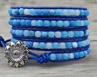 wrap bracelet gemstone bracelet blue beads wrap bracelet leather wrap bracelet boho beaded bracelet yoga bracelet Jewelry SL-205