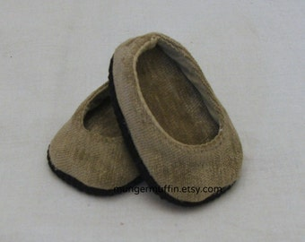 Tan Velvet shoes fits American Girl and other 18 inch dolls