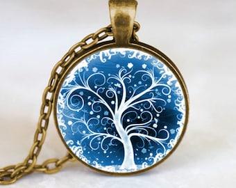 Tree of Life Necklace , Tree of Life Pendant Winter Scene , Bronze (PD0537)