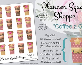 Coffee 2 Go Functional Kawaii Style Food Stickers - 1 Sheet (Choose from 4 sticker sizes - perfect for planners and planning)