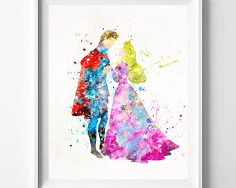 Disney Princess, Sleeping Beauty Art, Princess Aurora, Aurora Print, Disney Poster, Prince Philip, Nursery Decor, Type 1, Mothers Day Gift