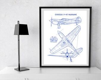 """Curtiss P40 Warhawk Blueprint, Curtiss P-40, Instant Download, Aircraft Blueprint. P40 Warhawk wall art, Aviation Decor, 8x10"""", 11x14"""""""