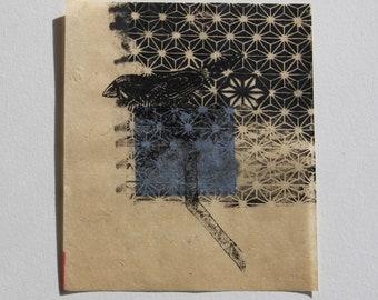 Bird- mixed media print
