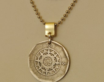 Portugal Coin Necklace 1984 Nautical Compass