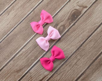 Small Pink Hair Bow Set, Pink Bow Set,  Small Pink Bows, Small Bows, Small Baby Hair Clips, Small Baby Bows, Pink Hair Clips, Mini Bows