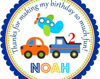 Transportation Stickers, Cars, Airplane Stickers, Trucks,Transportation Birthday Party