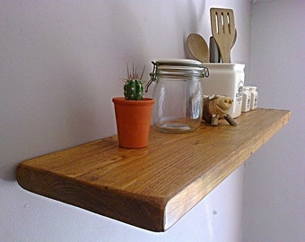 Kitchen Floating Wall Shelf / Shelves - Pine, Oak, Whites, Wax - ** FREE UK DELIVERY **