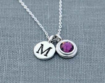 Mothers Birthstone Necklace, Amethyst Jewelry, Personalized Initial Necklace, Amethyst Necklace, Silver Mothers Necklace