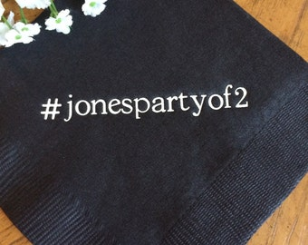 Personalized Napkins Personalized Napkins Wedding Napkins Hashtag Hash Tag Printed Paper Beverage Luncheon Dinner Guest Towels Avail!