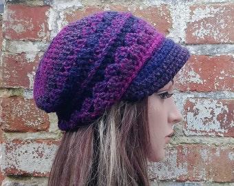 Crochet newsboy hat . Purple hat . Crochet hat with brim . Slouch beanie . Colourful ombre beanie . Winter hat .Festival beanie hat