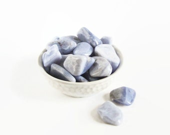 Blue Lace Agate Tumbled Lot from Brazil · Healing Stones · Blue Lace Agate · Throat Chakra