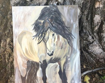 Original 12x16 Acrylic Canvas Buckskin Horse Painting