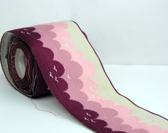 """Pink and Magenta Embroidered Cloud Trim 3 Yards by 3 1/2"""" Wide"""