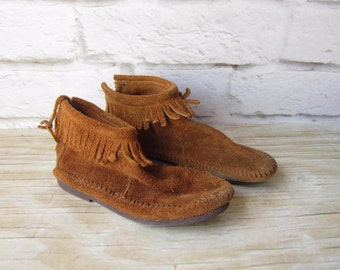 Vintage Suede Moccasins Leather Booties Woman's Size 4 BOHO Festival Concert