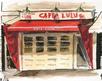 4x6 Original Watercolor Painting - Cafe Luluc